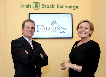 R to L Deirdre Somers CEO Irish Stock Exchange welcomes Philip O'Quigley, CEO Falcon Oil and Gas to the Irish stock exchange