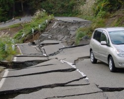 Earthquake damage on a roadway