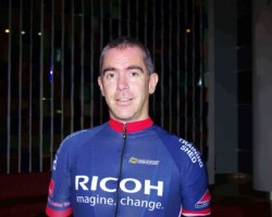 Ricoh Ireland's Anthony Vaughan pictured during the Ricoh imagine change Challenge, a 1,445 kilometre cycle from London to Barcelona to raise funds for the Institute of Liver Studies.