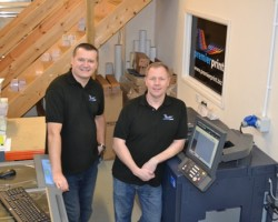 Rob Baldwin (left) and Kevin Rideout , benefits of digital colour helping Premier Print win new contracts