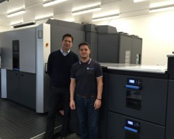 James Jose, Managing Director, and Jamie Gardner, Production Director, Hardings Print Solutions, with the newly installed HP Indigo 10000 Digital Press