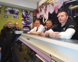 In the Mimaki Vehicle Wrap Lab (from L to R): Malcolm Evans - Hybrid Services, Dr Neil Fellows - Oxford Brookes University, Prof Gareth Neighbour - Oxford Brookes University, Terrance Floyd - Oxford Brookes University and Jason Price - Corbeau Studio.