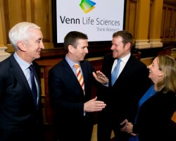 (L-R) Padraic O'Connor Chairman ISE Tony Richardson CEO Venn Life Sciences Jonathan Hartshorn CFO Venn and Orla O'Gorman Head of Equities ISE