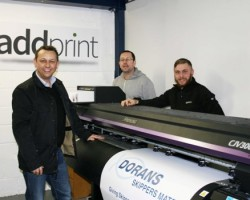 Robert Doyle, Declan Conroy and Andy Preston from AddPrint Ltd with the Mimaki CJV300-160.