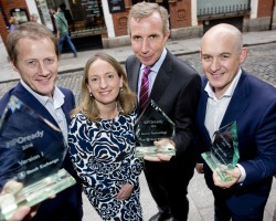 (L-R) Justin Keatinge, CEO, Version 1, Orla O'Gorman, Head of Equity, ISE, Karl Flannery, CEO, Storm Technology, Eoin Goulding, CEO, Integrity 360 at the graduation of IPOready