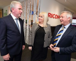 (1)	Pictured at the opening of Ricoh's new Irish headquarters in Airside Business Park, Swords, Co. Dublin are (L to R) Phil Keoghan, CEO, Ricoh UK and Ireland; Minister for Jobs, Enterprise & Innovation, Mary Mitchell O'Connor TD; and Gary Hopwood, General Manager, Ricoh Ireland