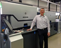 Cees Schouten, technical director at Geostick, with one of the three HP Indigo WS6600 Digital Presses