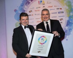 L-R - Eoin Honan, sales director of Reprocentre Group (Sponsor) presenting Tony Gillen – sales director at Horizon Digital Print with the IPA Award for Large Format Digital Print 2013