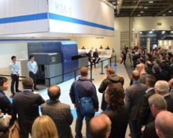 KM-1 presentation at Konica Minolta's booth at Ipex 2014